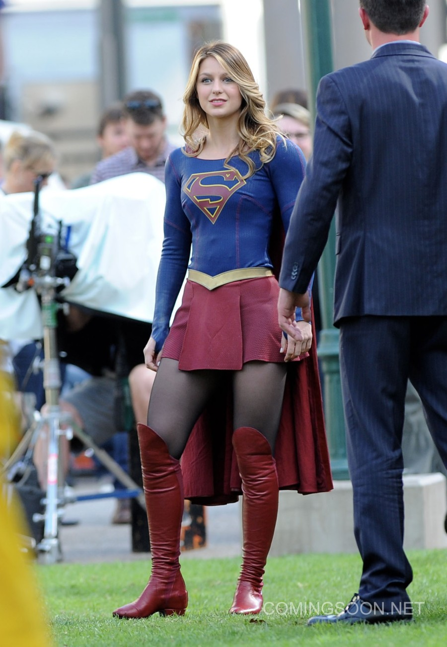 """Melissa Benoist get into character while filming new scenes for her hit show """"Supergirl"""" with special guest Grant Gustin as Flash for the special episode. Calista Flockhart was also seen on set in Los Angeles and was being saved by the 2 heroes as she gets hassled by 2 villains. Featuring: Melissa Benoist Where: Los Angeles, California, United States When: 23 Feb 2016 Credit: Cousart/JFXimages/WENN.com **Not avialable for publication in New Zealand and Australia**"""